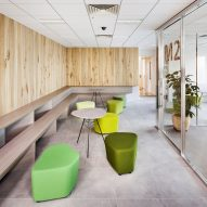 Anti-microbial ceramic surfaces by Fiandre Architectural Surfaces used across Tokyo office interior