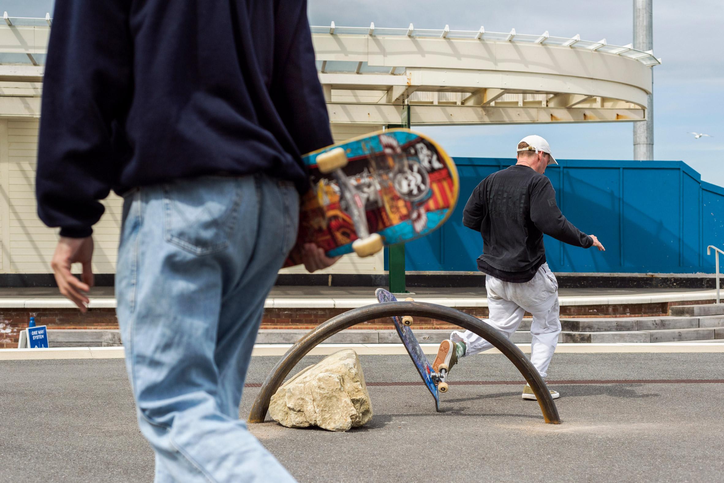 Skaters using Assemble's skatable sculptures at Folkestone Triennial 2021
