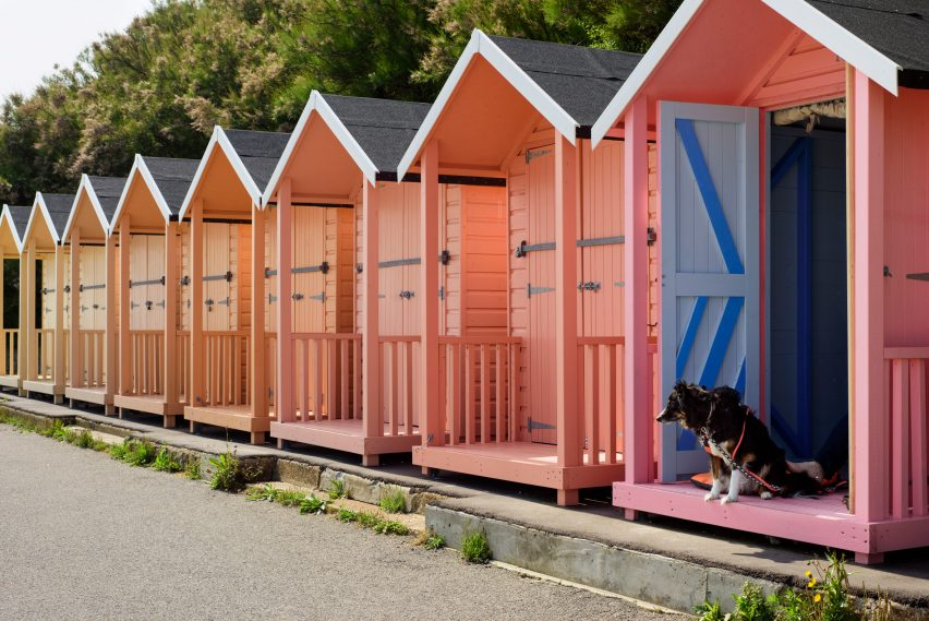 Beach huts in colourful yellow to pink gradient by Rana Begum