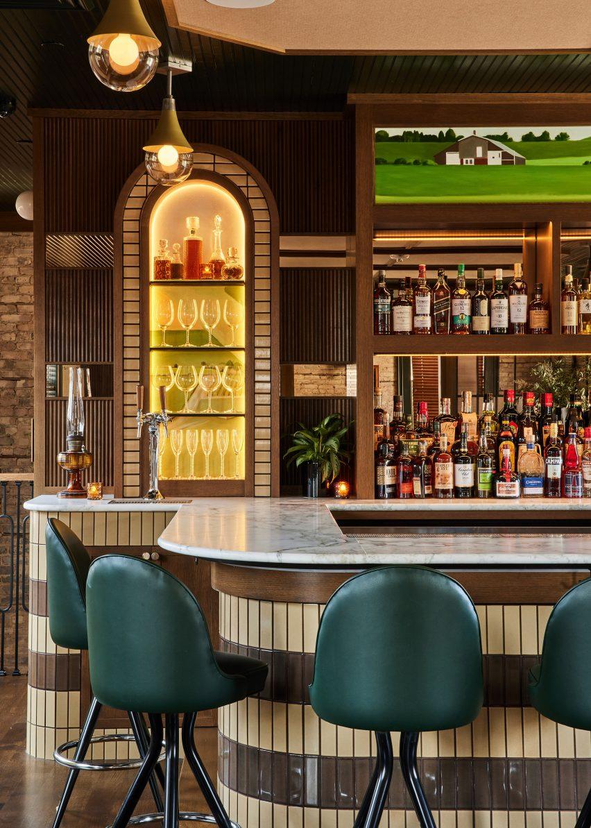 Upstairs bar with custom artwork
