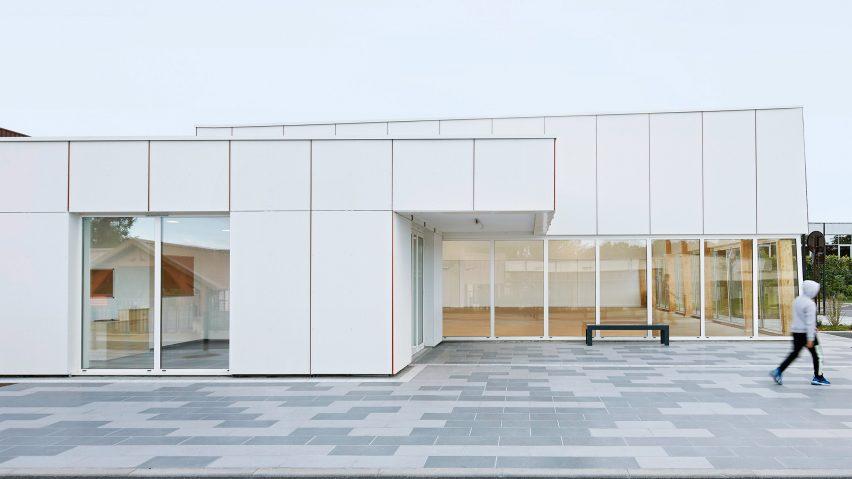 Pierre Chevet sports hall has a white exterior