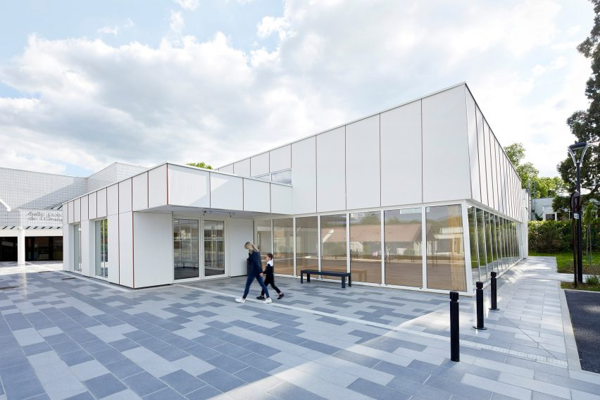 Pierre Chevet sports hall is clad in cement panels