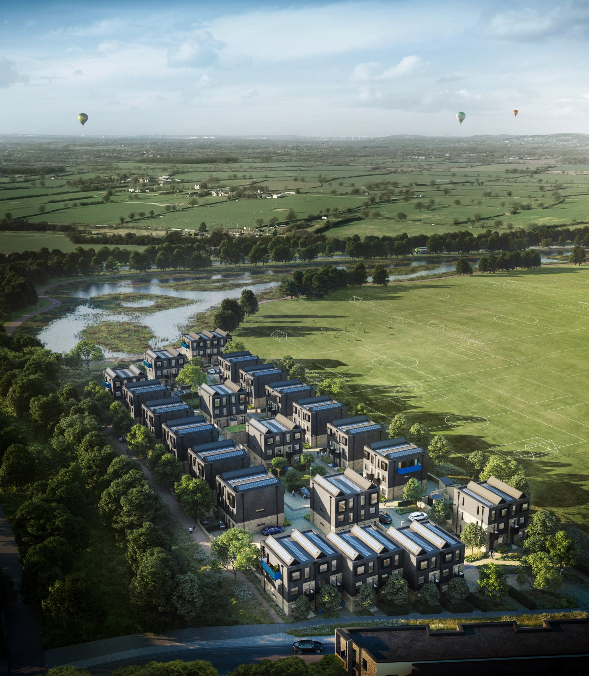 Aerial masterplan visualisation, Inholm by House by Urban Splash
