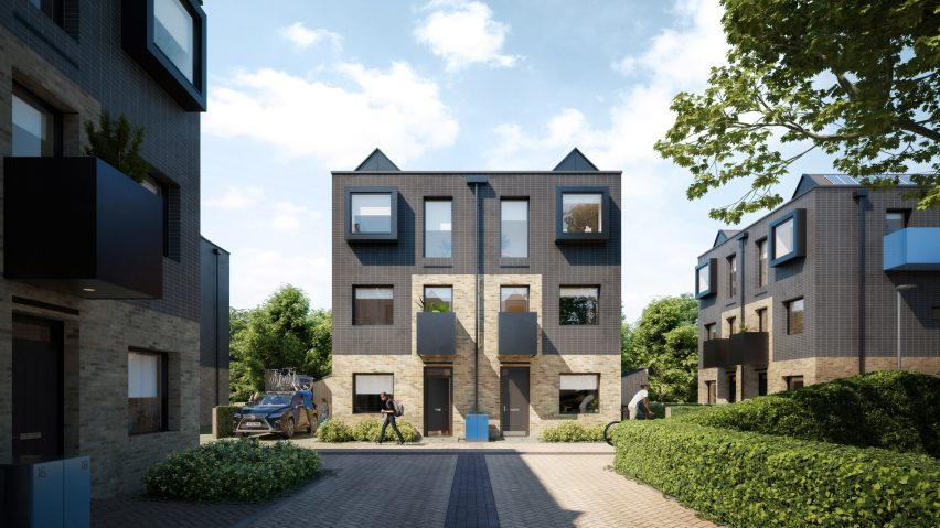 Town House facades at Inholm by House by Urban Splash