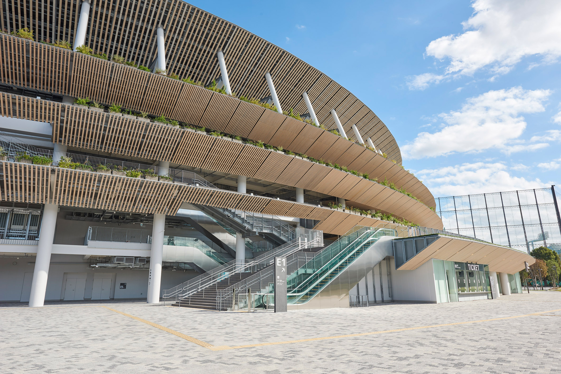 A stadium with wooden cladding