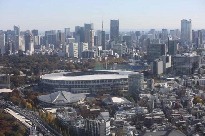 Pemandangan udara dari Stadion Nasional Jepang