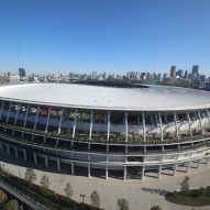 An aerial view of a oval-shaped stadium