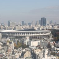 An aerial view of Japan National Stadium