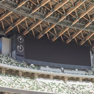 A exposed stadium roof structure