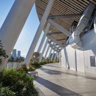 A walkway outside Japan National Stadium
