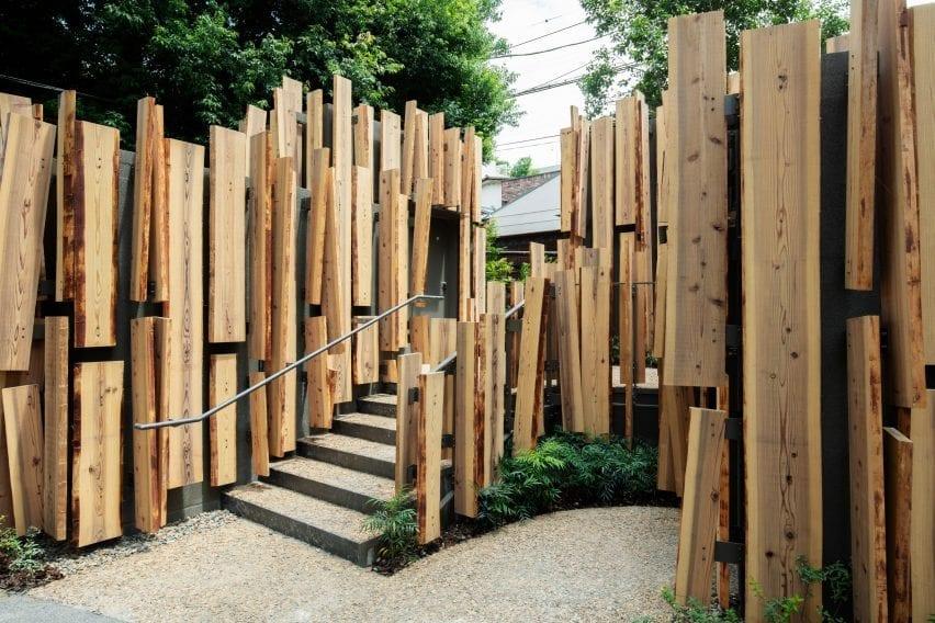 Cedar-clad toilet by Kengo Kuma