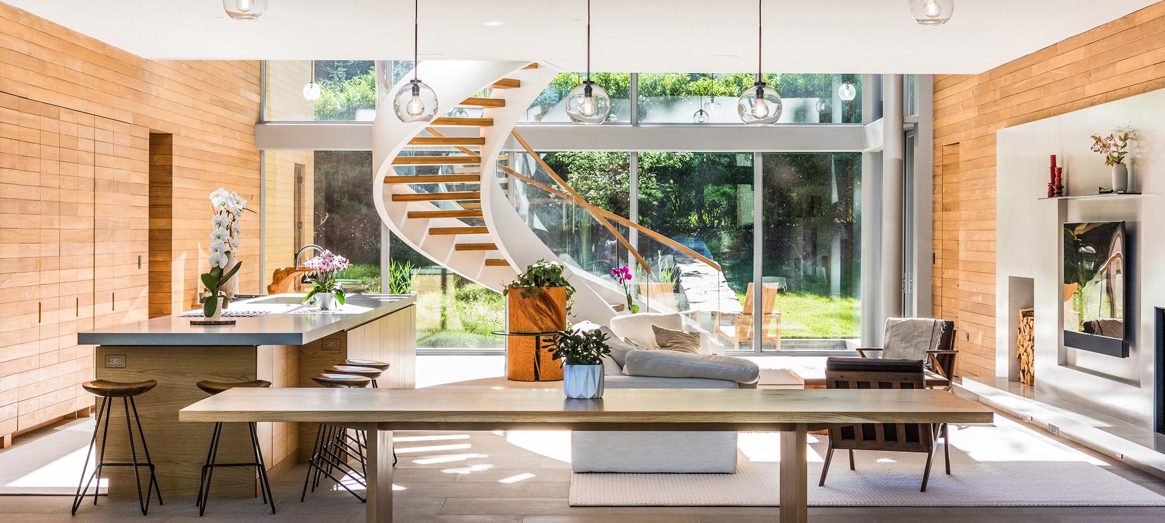 Spiral staircase living room Princeton Studio PHH