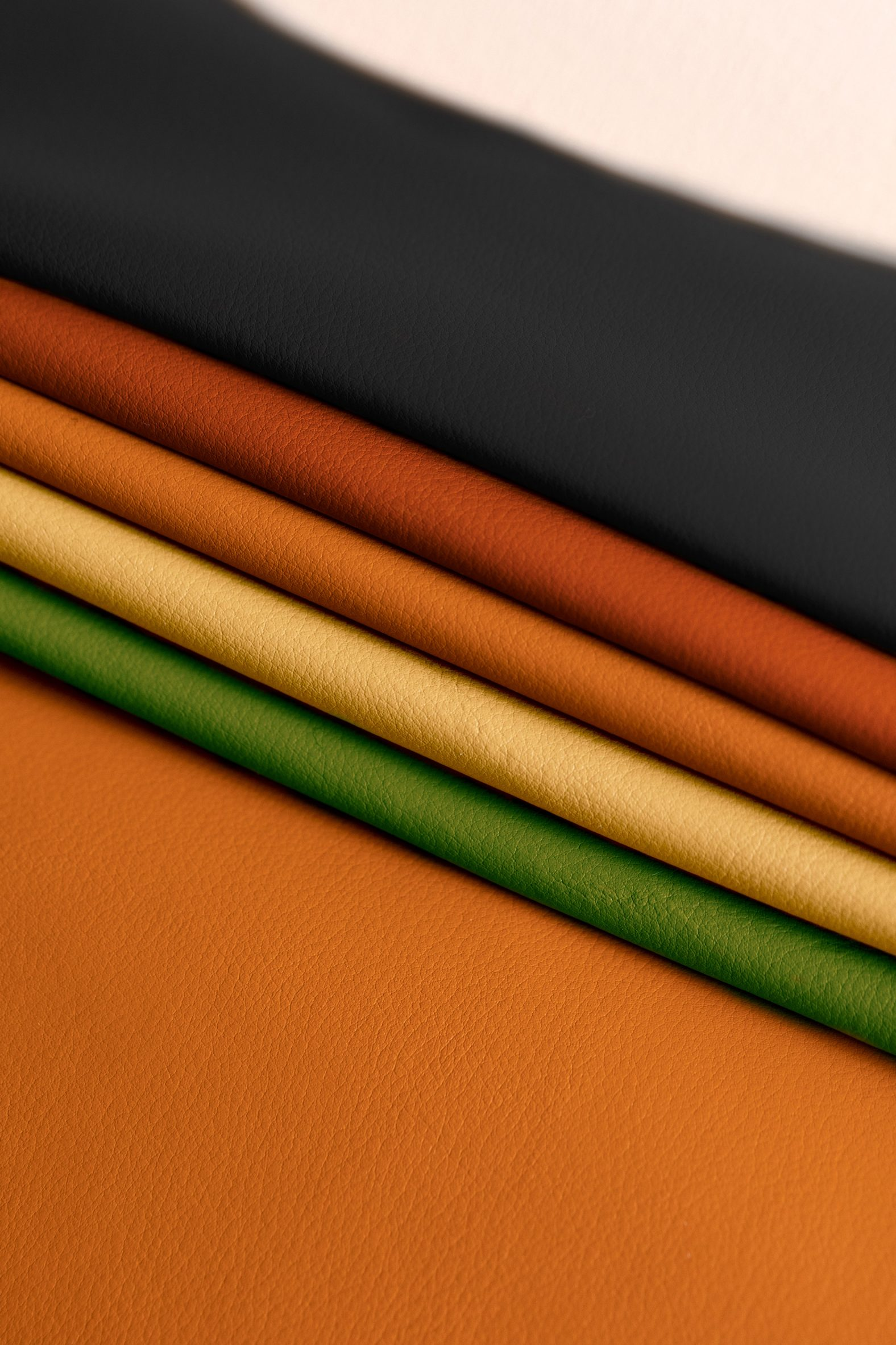 Swatches of different coloured Leap leather