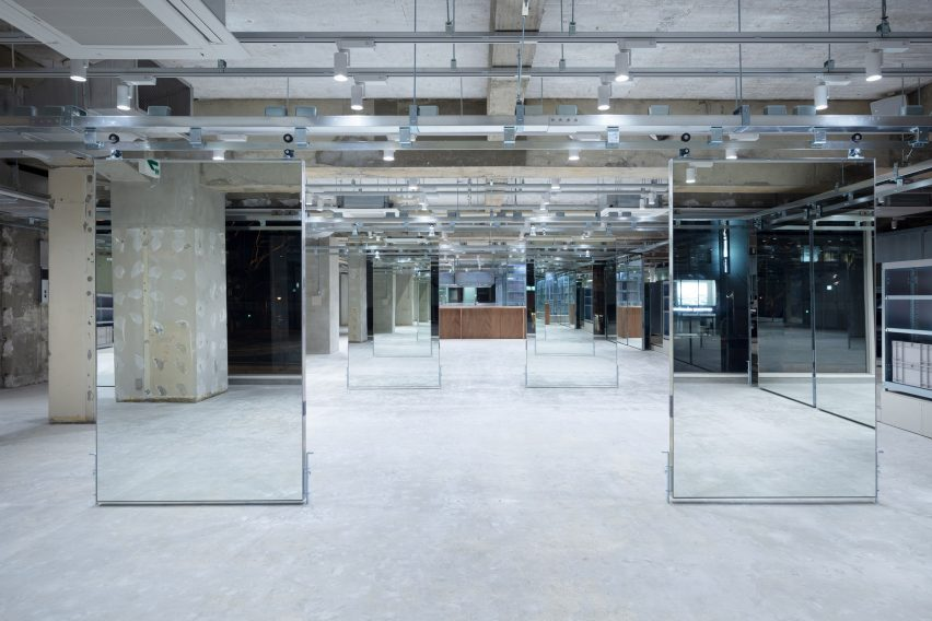 Mirrors suspended from pulley system in LIM salon