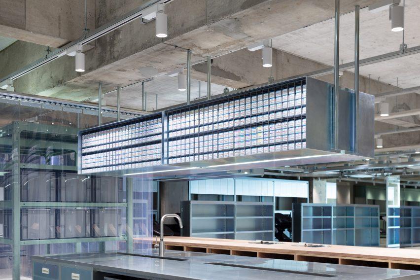 Suspended steel storage in LIM and Loji hair salons
