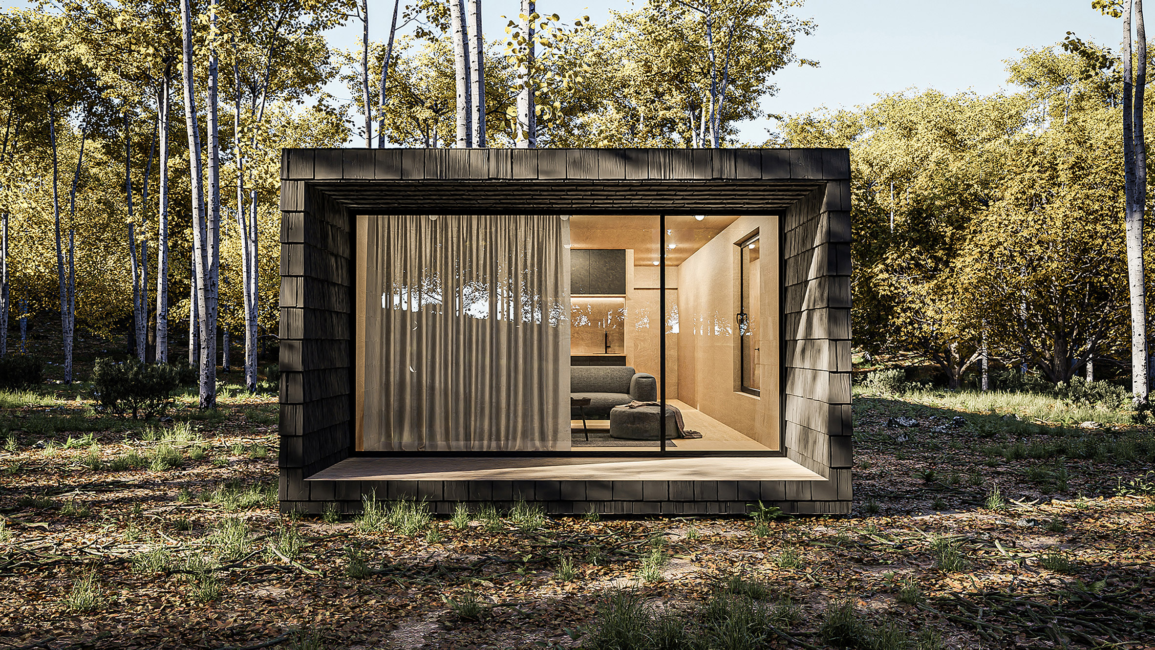 The cabins are clad in local wood