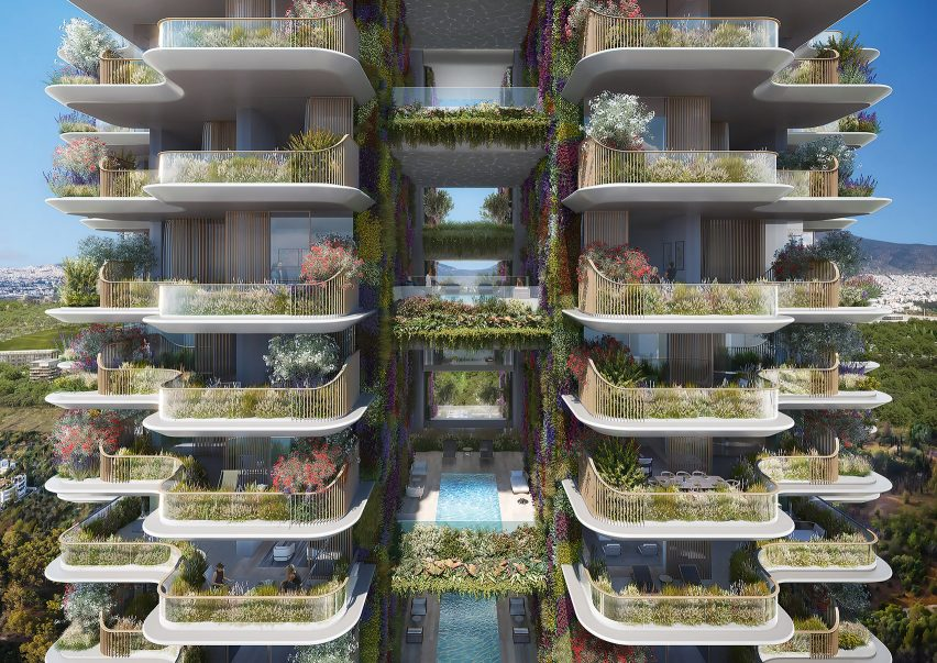 A visual of plant-lined balconies