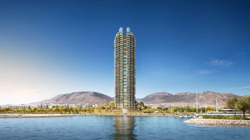 A skyscraper on the Greek coast by Foster + Partners