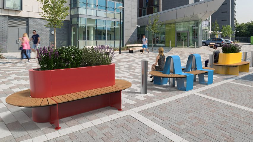 Marshalls Landscape Protection colourful benches