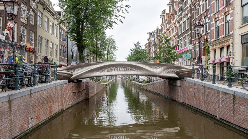 The bridges spans across a canal