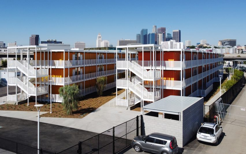 The complex is made out of shipping containers