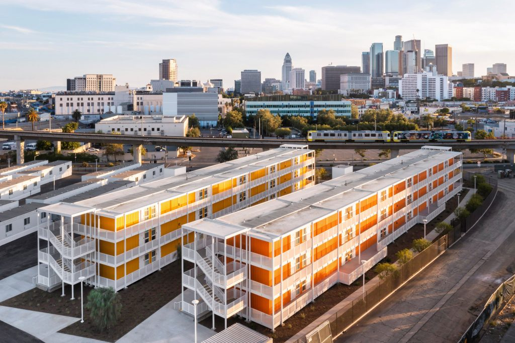 Shipping containers used to build LA housing complex for the homeless