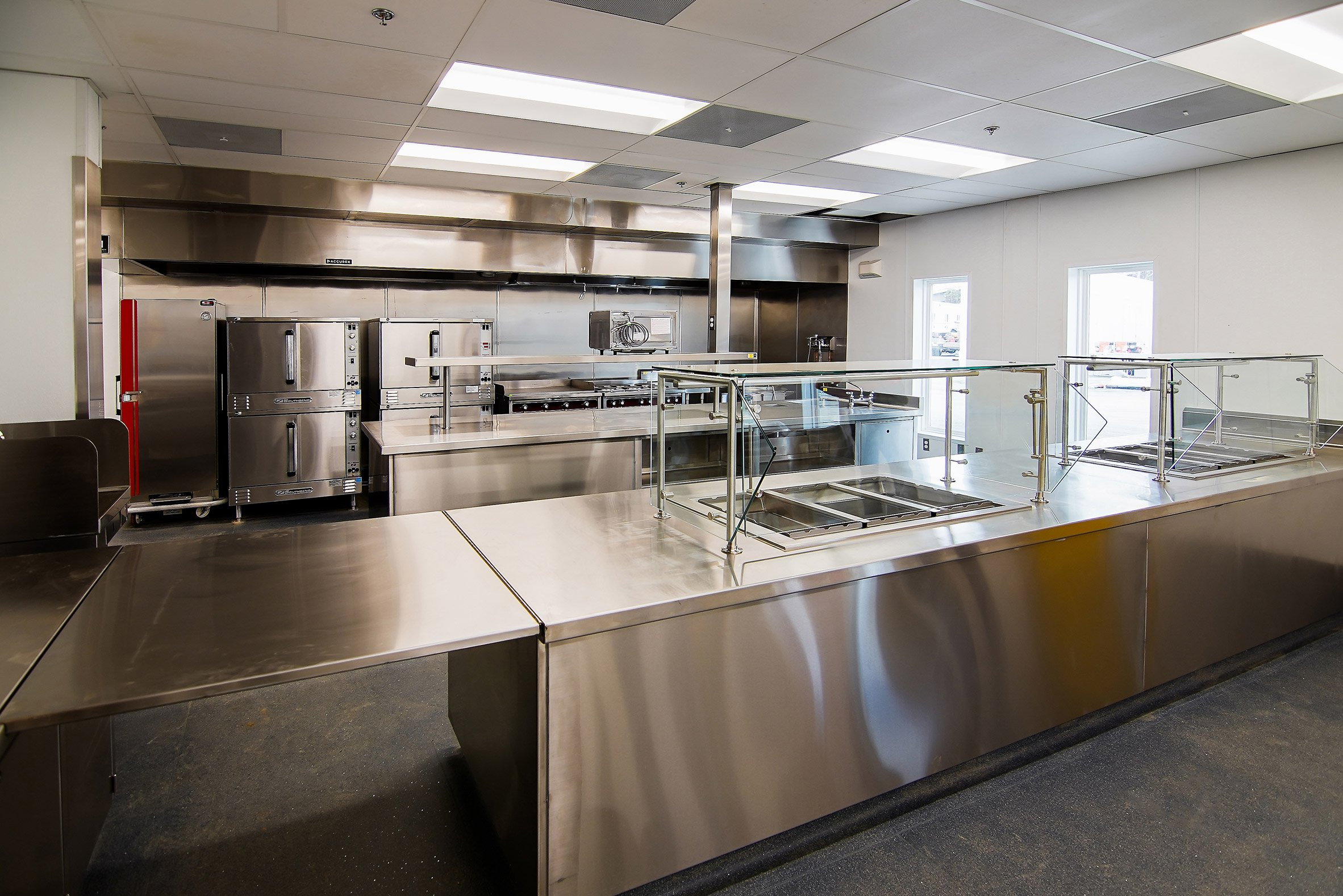 A commercial kitchen features in the complex by NAC Architecture and Bernards