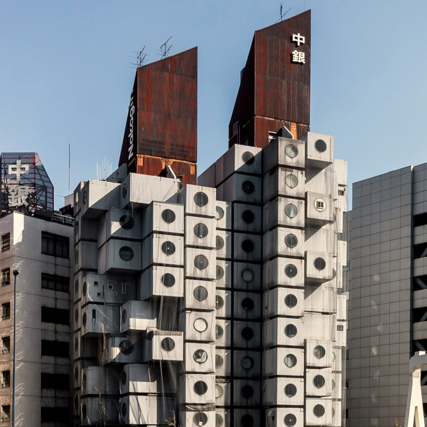 View of Nagakin Capsule Tower from Ginza in Tokyo