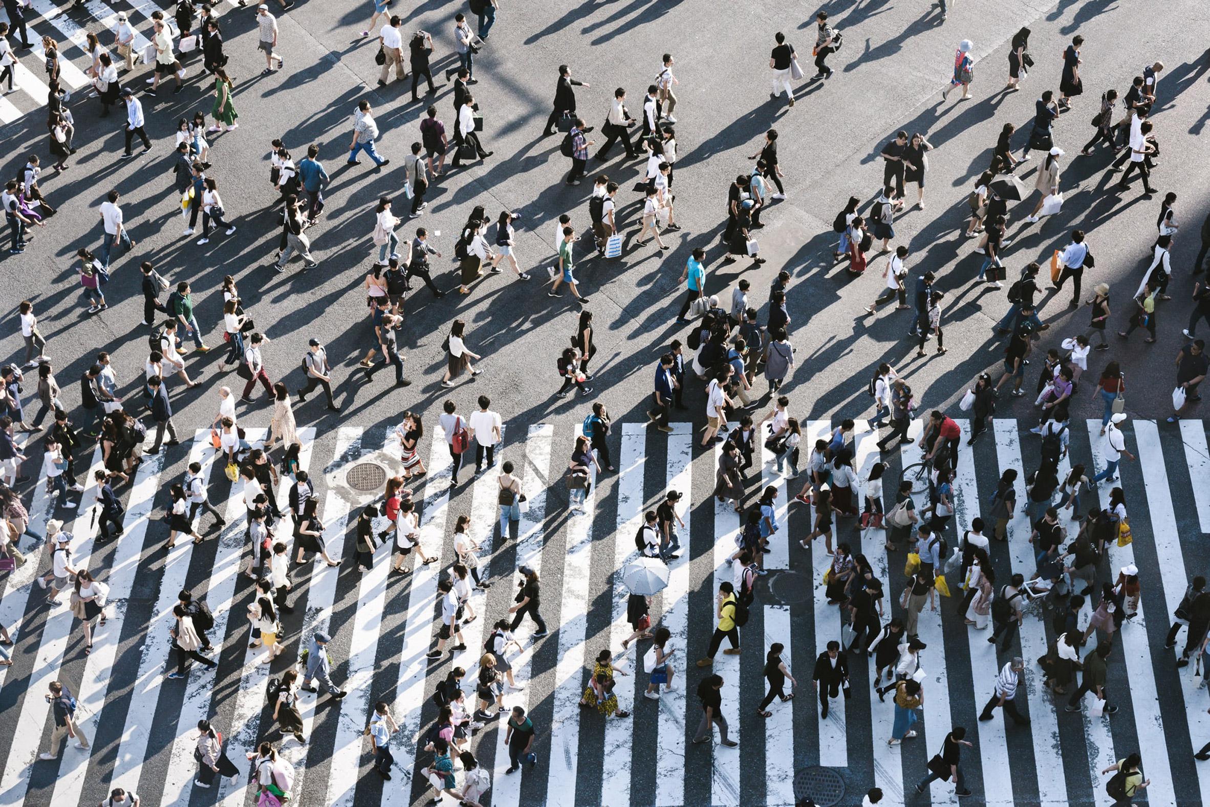 Crowded pedestrian crossing