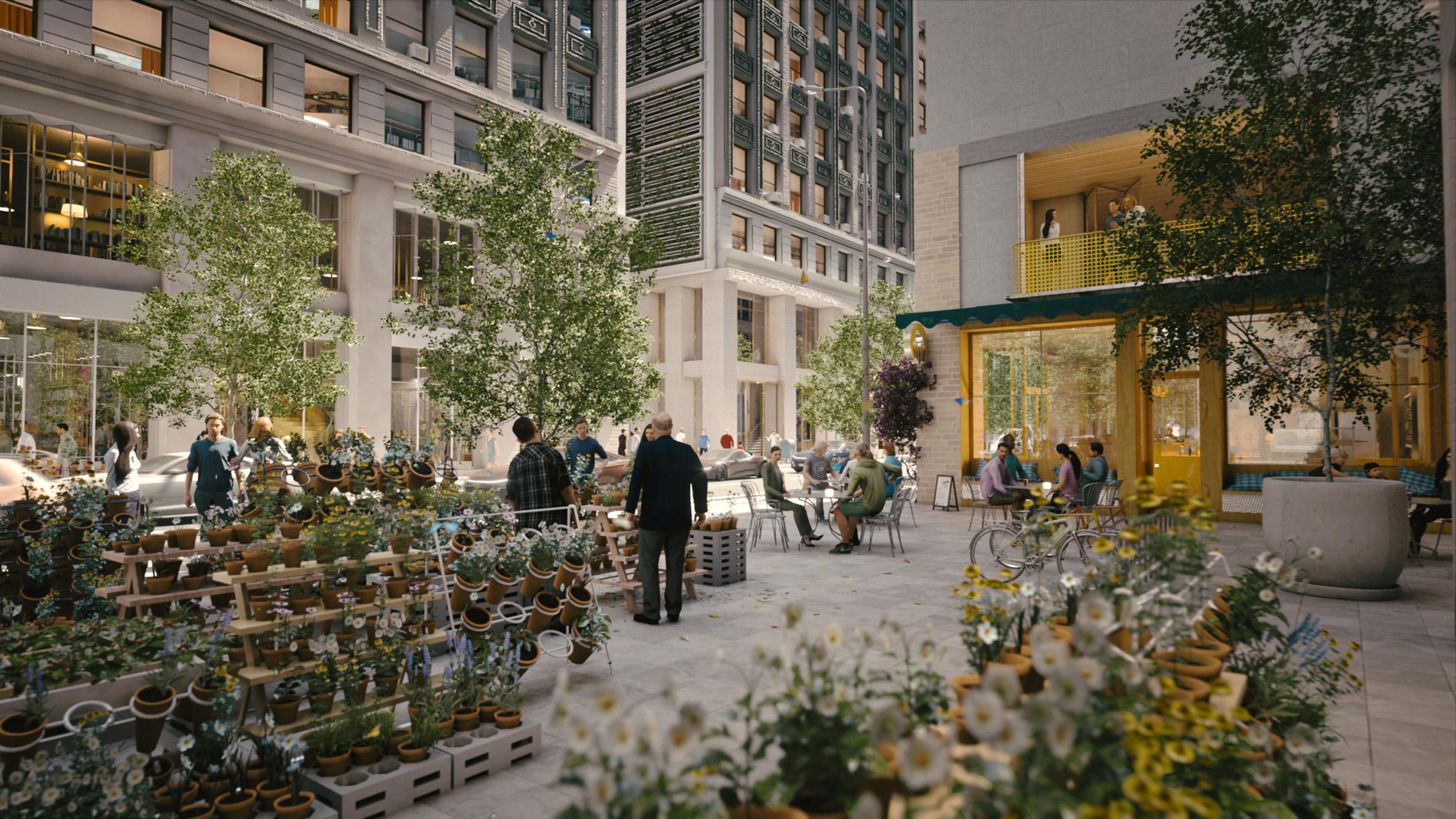 Render of a flower market in Manhattan