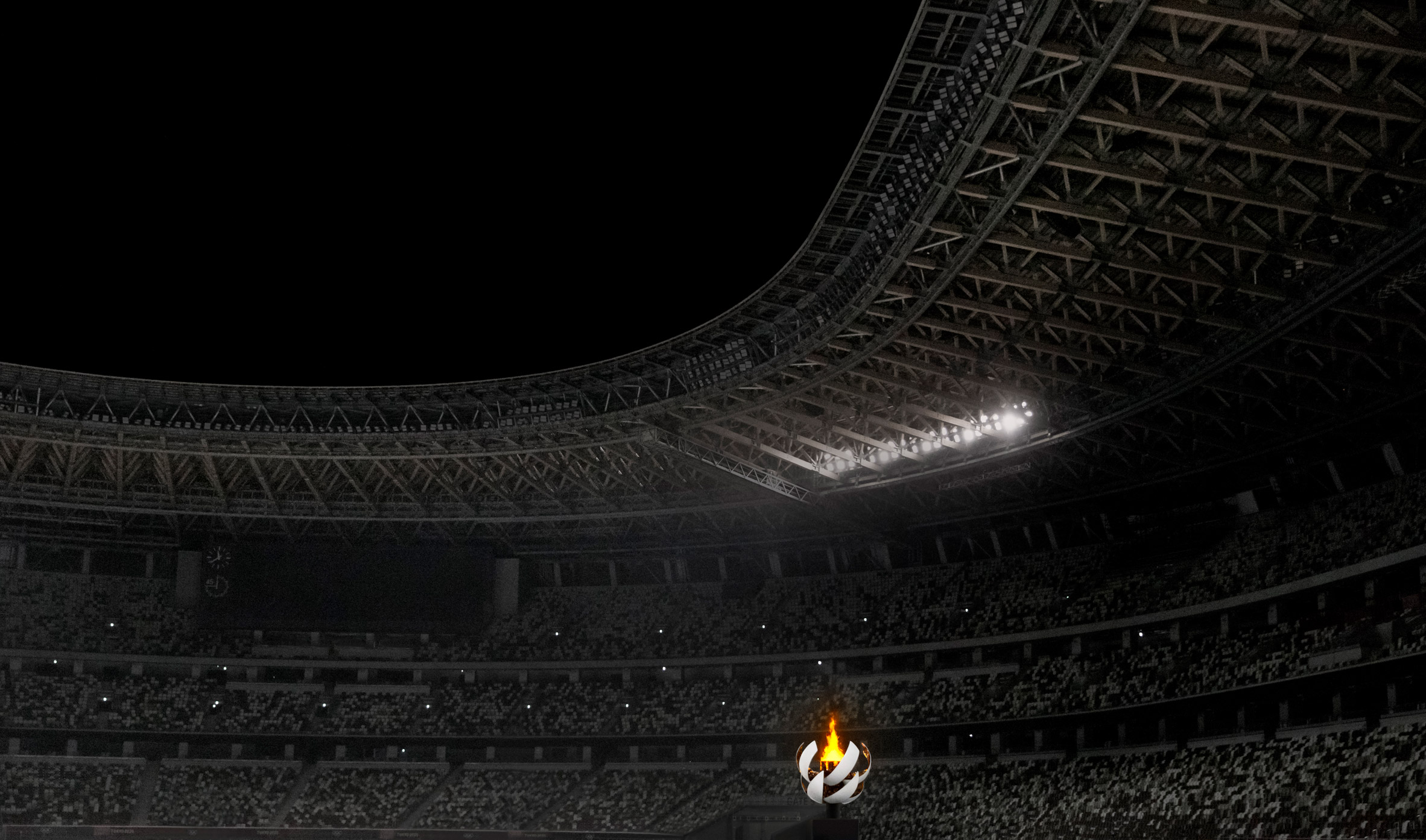 Olympic stadium with Olympic flame
