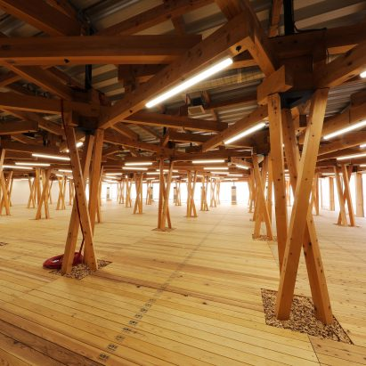 Olympic Village Plaza has wooden beams