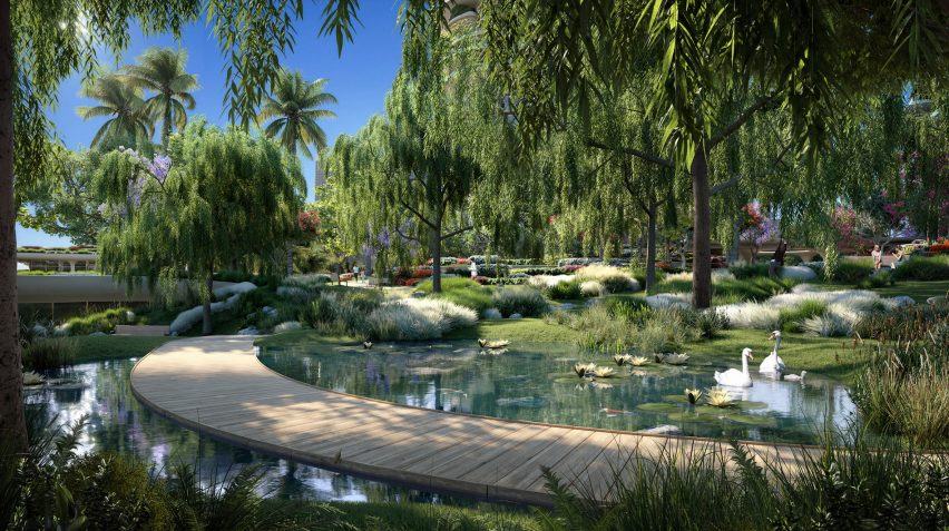 Render of a water feature in Beverly Hills development