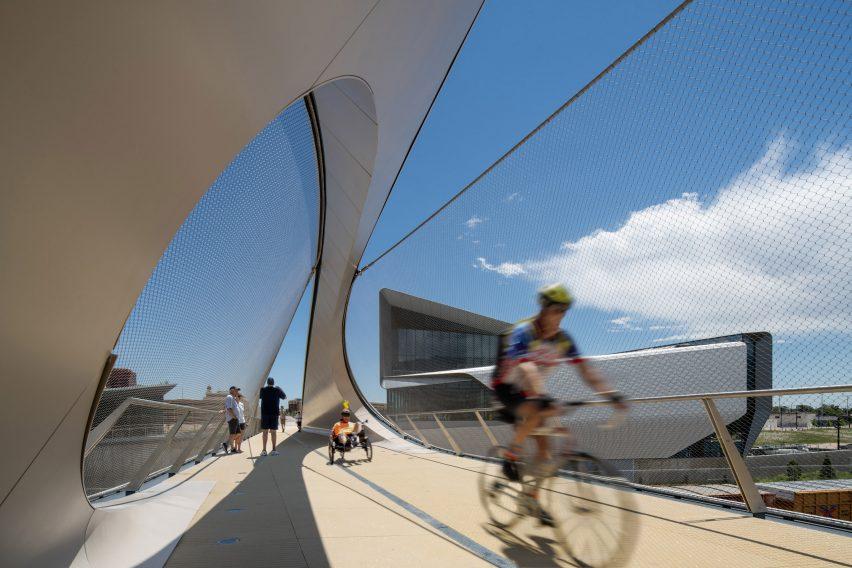 Pedestrians and cyclists using Park Union Bridge in Colorado Springs