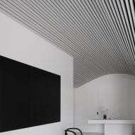 The ceiling has a curved design