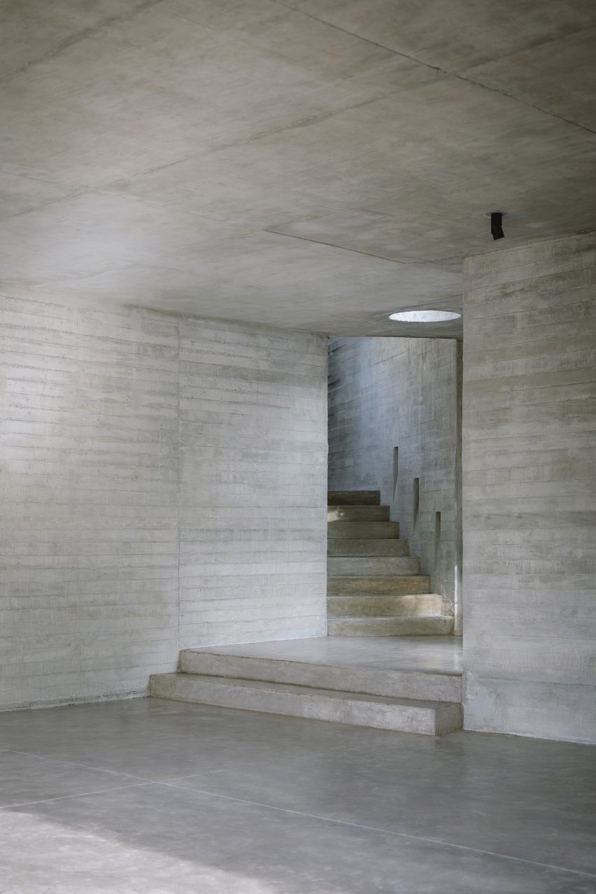 Concrete covers the walls floors and ceiling at Casa Amapa