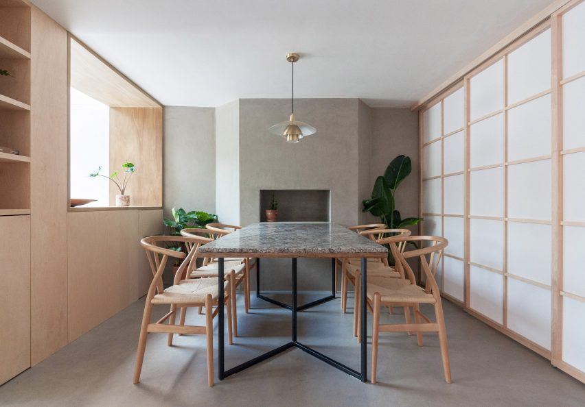A dining room with Japanese-style shoji screens