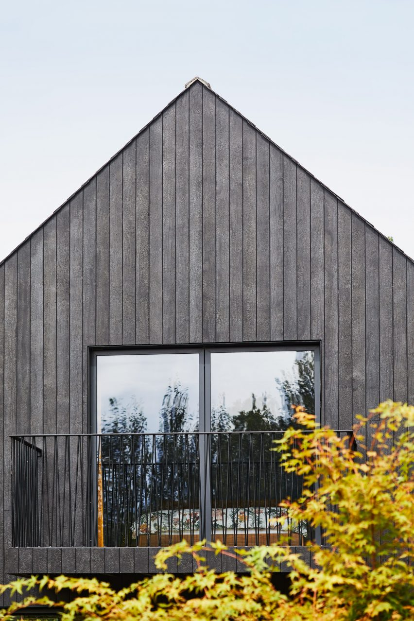 A charred-timber house extension