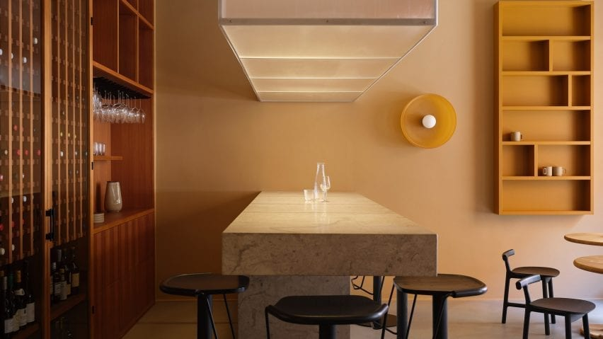 The interior feature stone surfaces