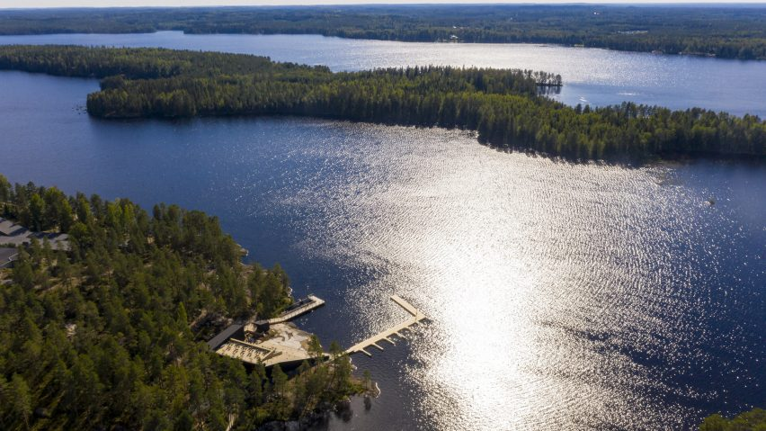 An aerial view of a lakeside wellness centre