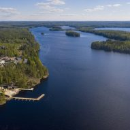 An aerial view of a lake in Finland