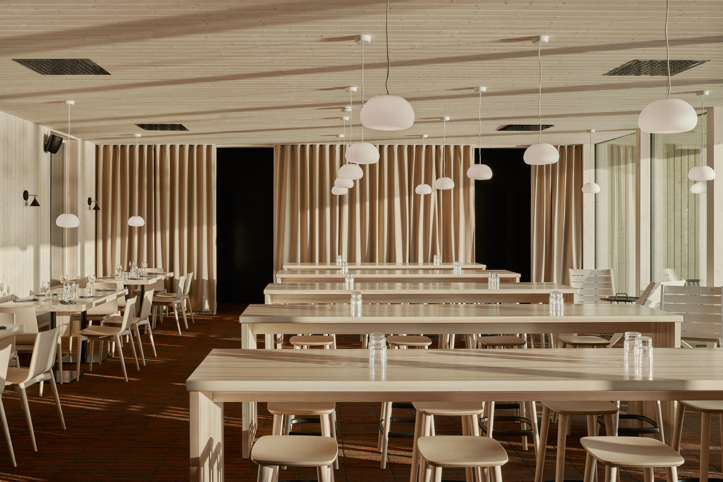 A wood-lined restaurant interior