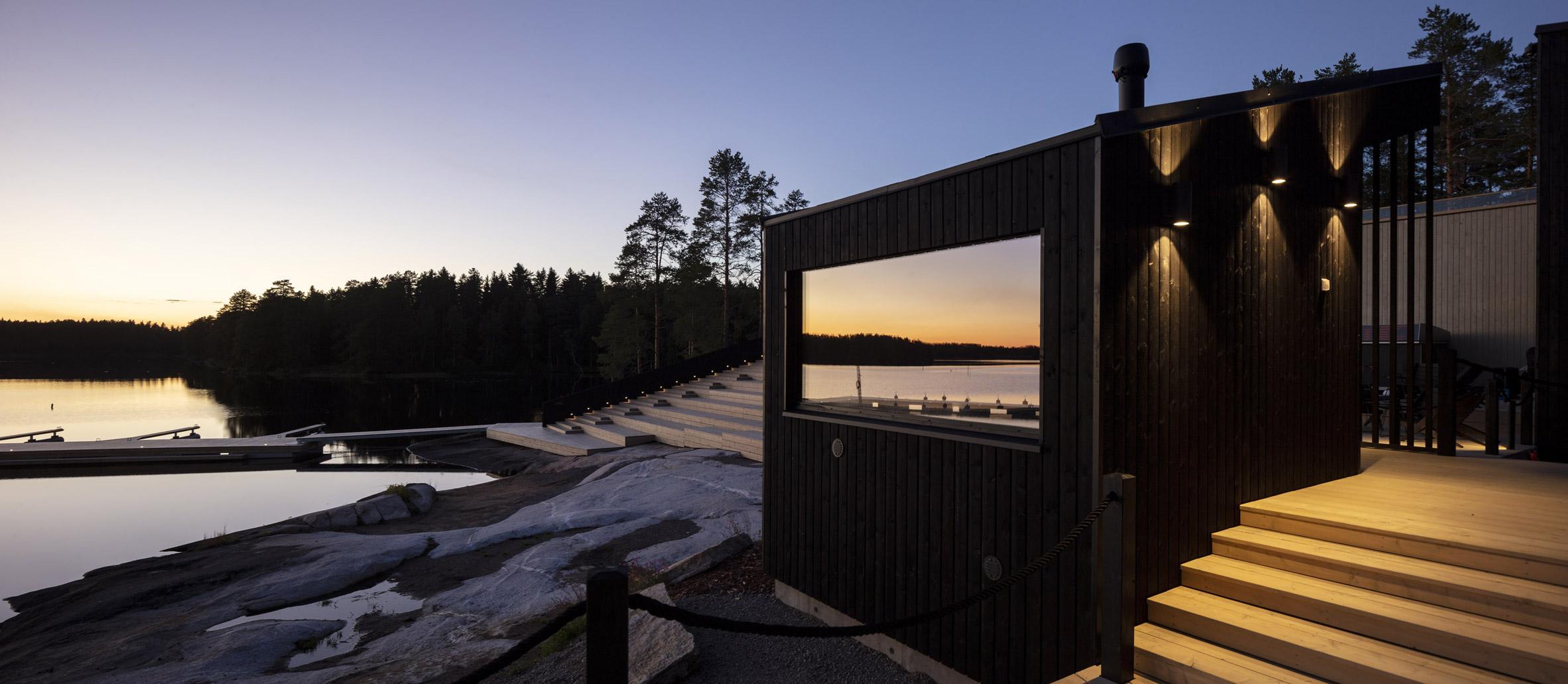 A black timber wellness centre