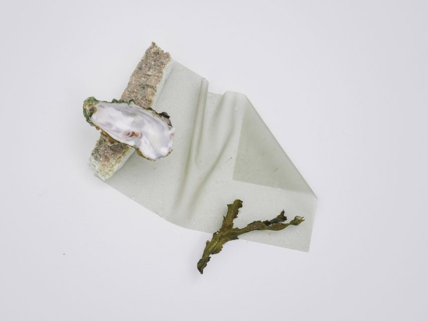 Oyster shell and seaweed textile