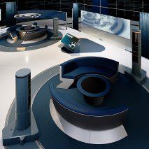 An overhead view of the virtual news studio