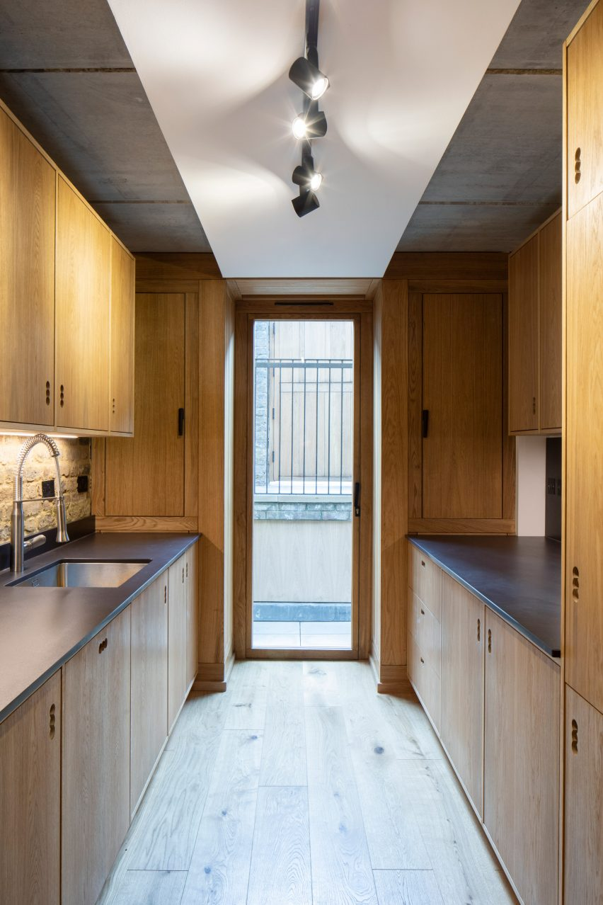 Southwark House's golden-toned kitchen