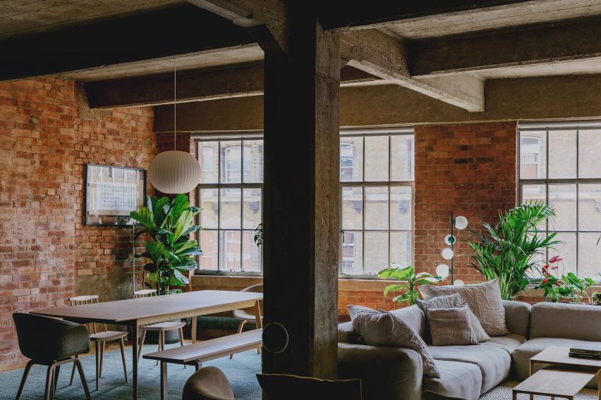 Living Space in St John Street Warehouse Apartment by Emil Eve Architects