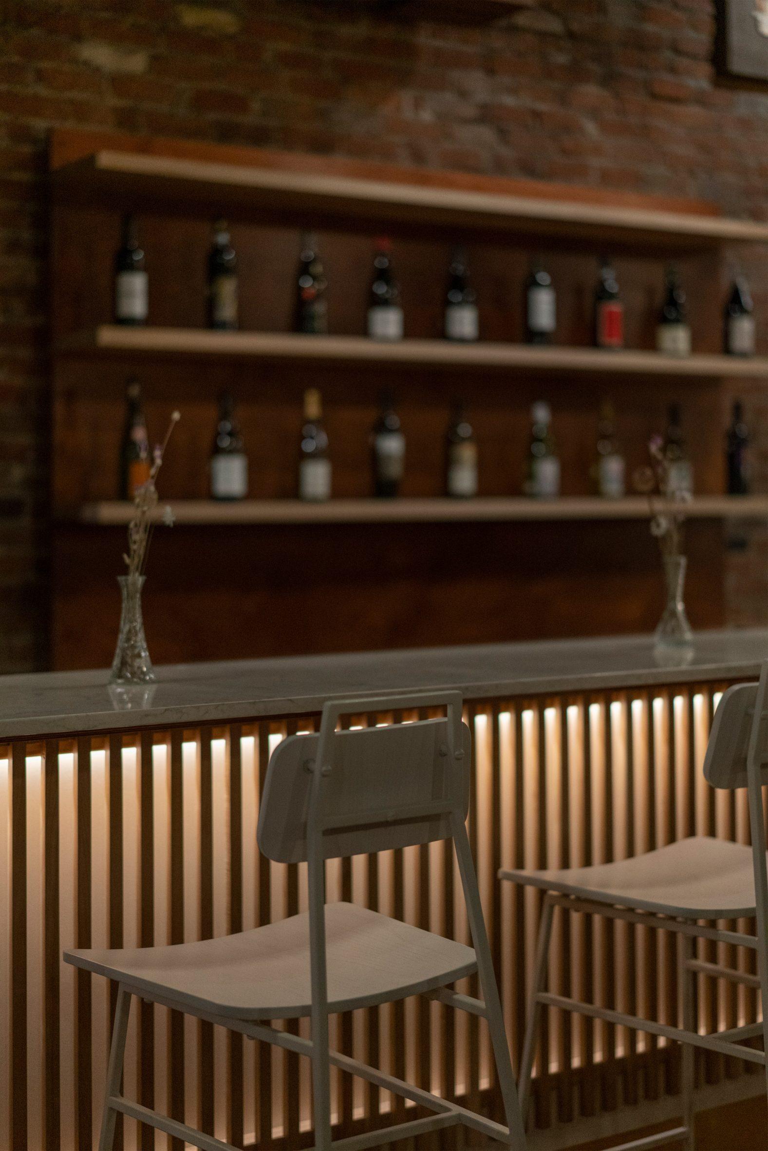 Bar seating in Montreal wine bar Stem