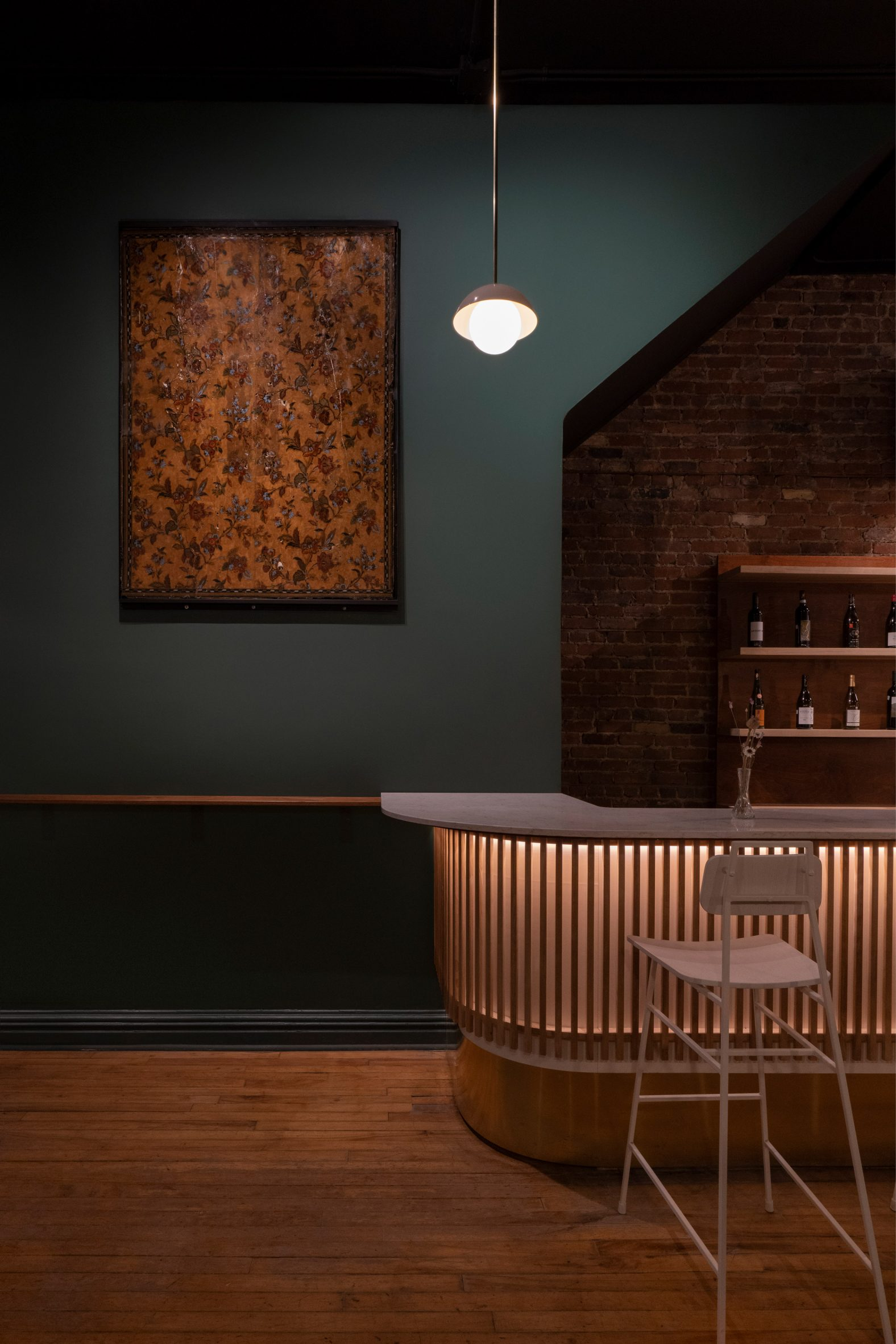 Wine bar in Montreal covered by wooden slats