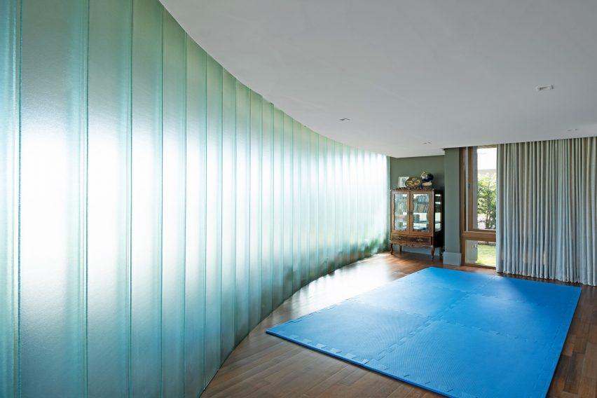 The yoga studio has wooden flooring